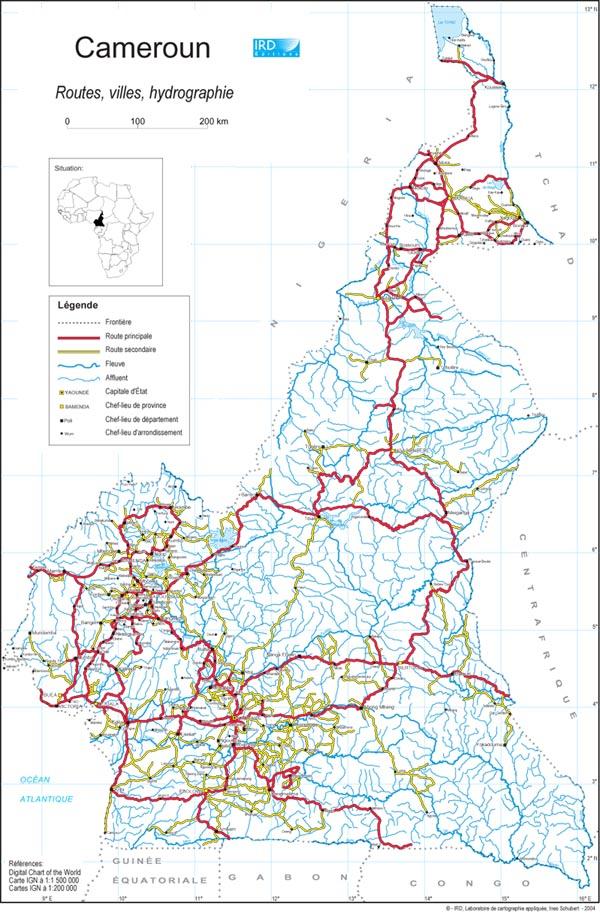 Carte Du Cameroun Et Ses Villes